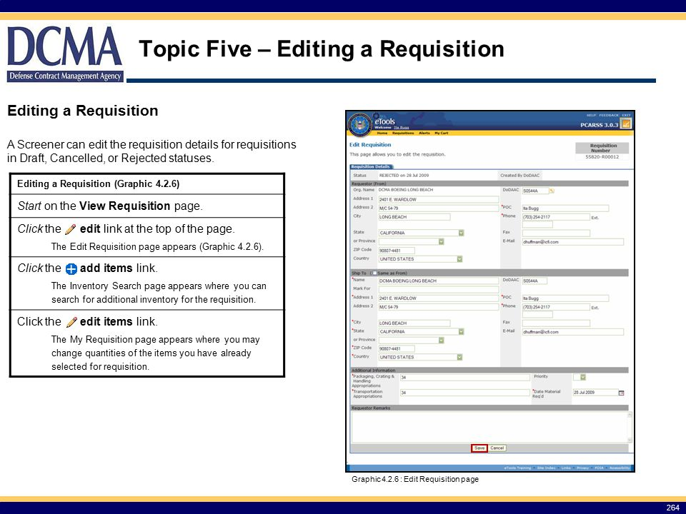 Topic Five – Editing a Requisition