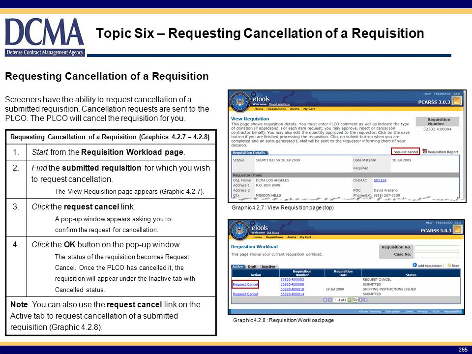 Topic Six – Requesting Cancellation of a Requisition