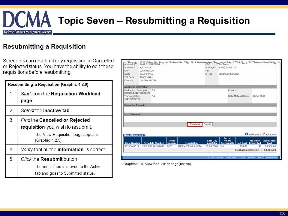 Topic Seven – Resubmitting a Requisition