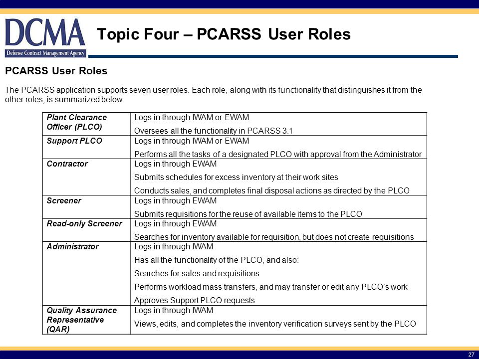 Topic Four – PCARSS User Roles