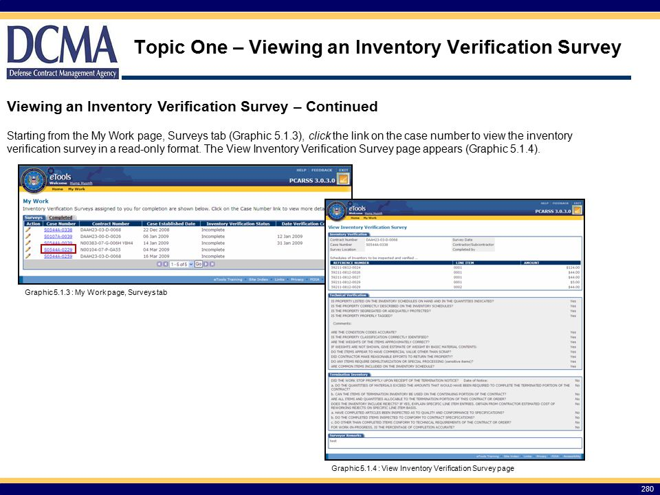 Topic One – Viewing an Inventory Verification Survey