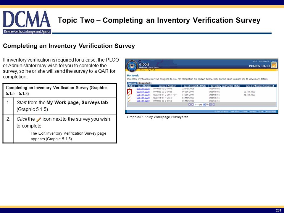 Topic Two – Completing an Inventory Verification Survey