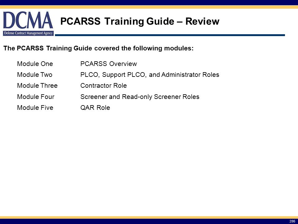 PCARSS Training Guide – Review
