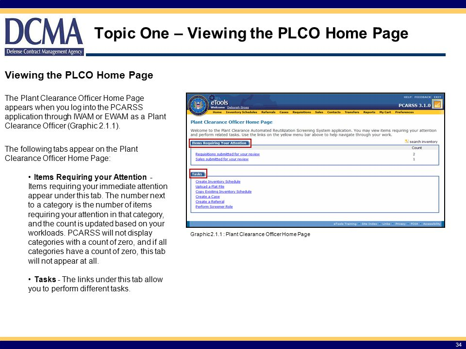 Topic One – Viewing the PLCO Home Page