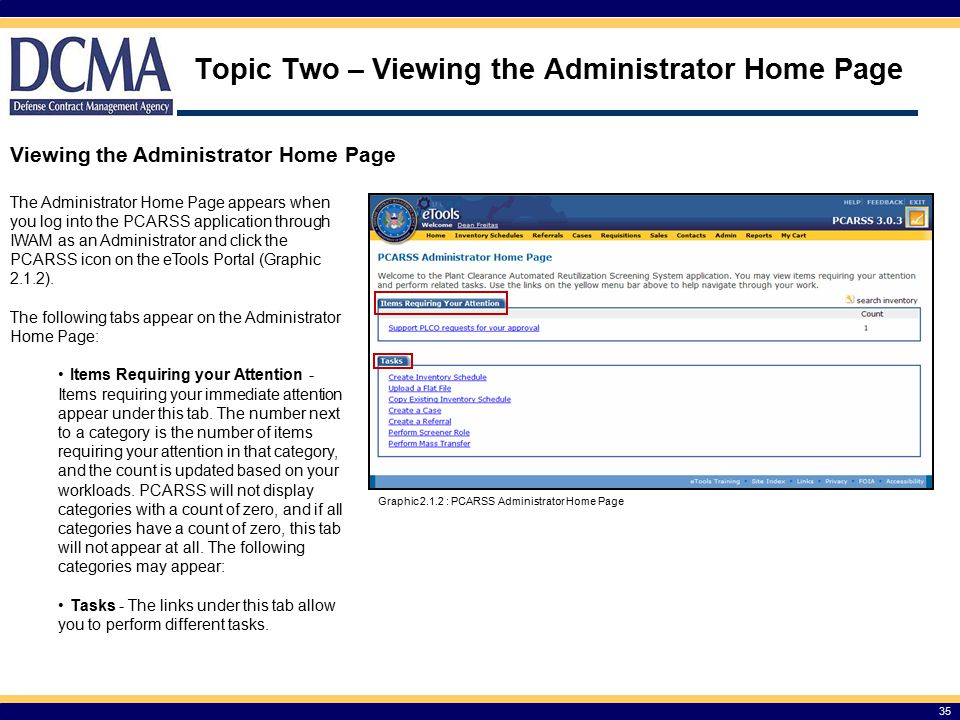 Topic Two – Viewing the Administrator Home Page