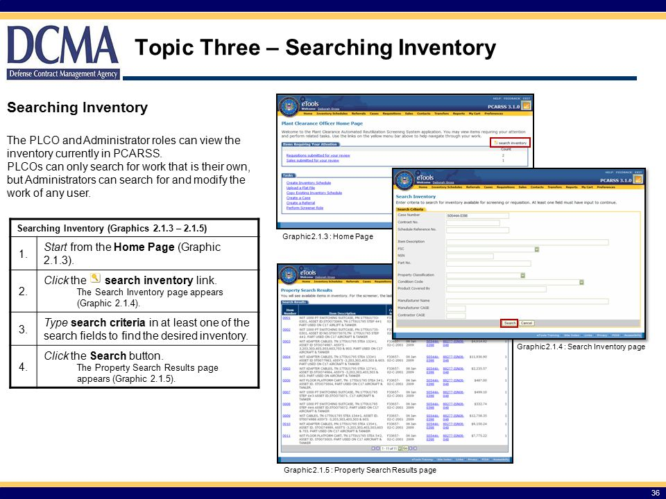 Topic Three – Searching Inventory