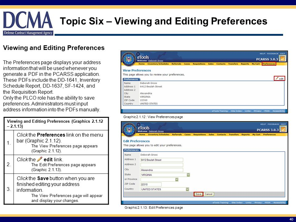Topic Six – Viewing and Editing Preferences