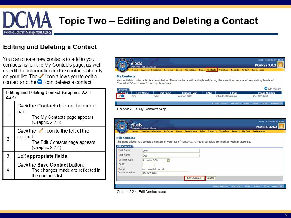 Topic Two – Editing and Deleting a Contact
