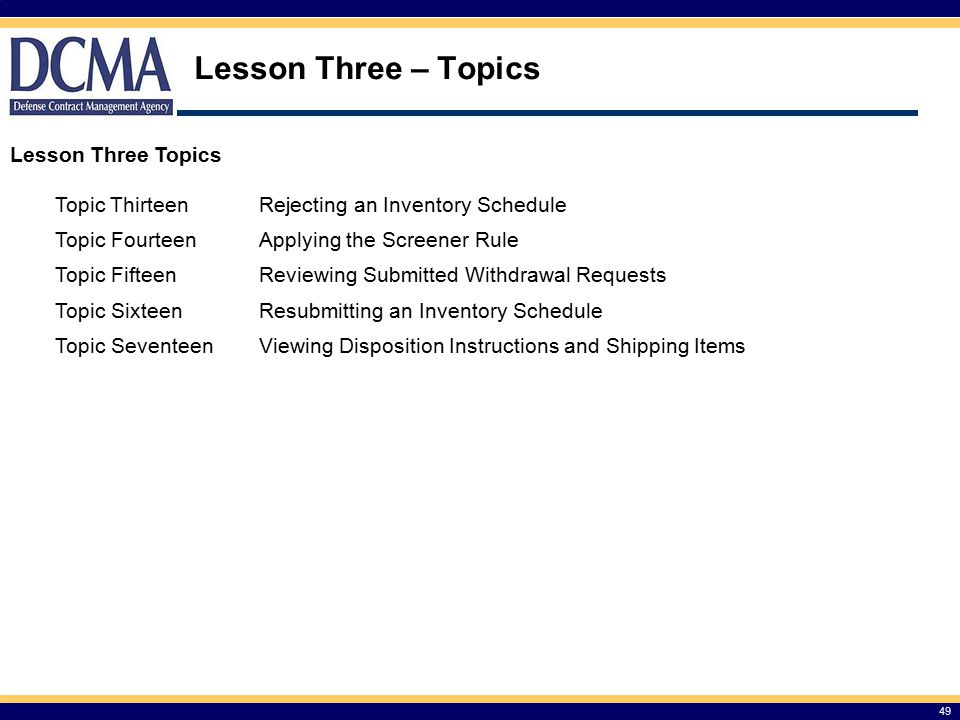 Lesson Three – Topics Lesson Three Topics Topic Thirteen