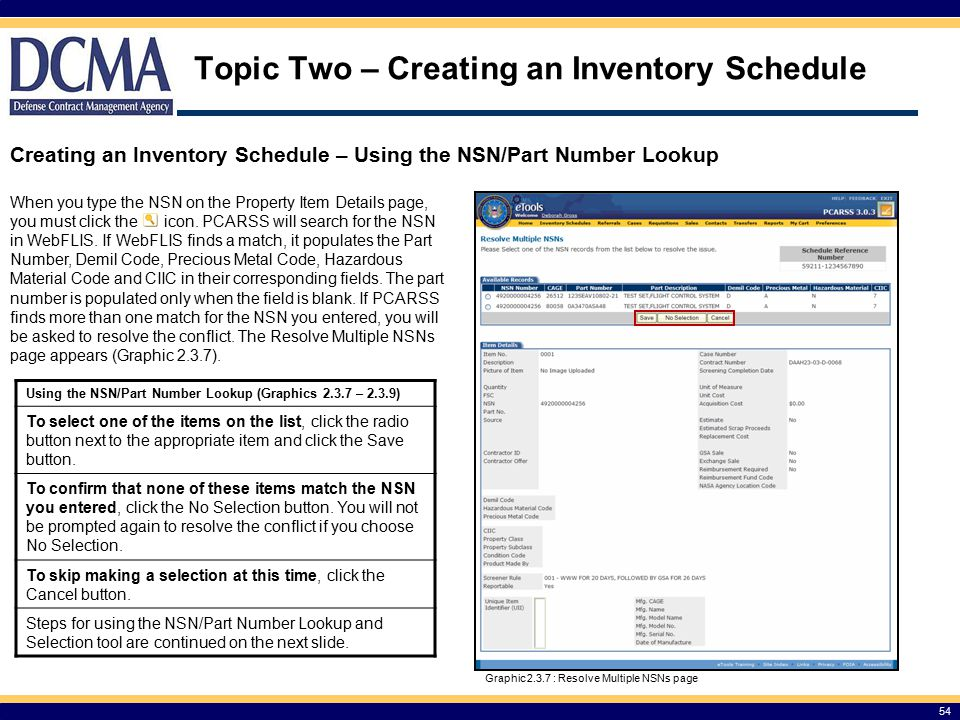 Topic Two – Creating an Inventory Schedule