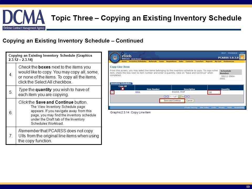 Topic Three – Copying an Existing Inventory Schedule