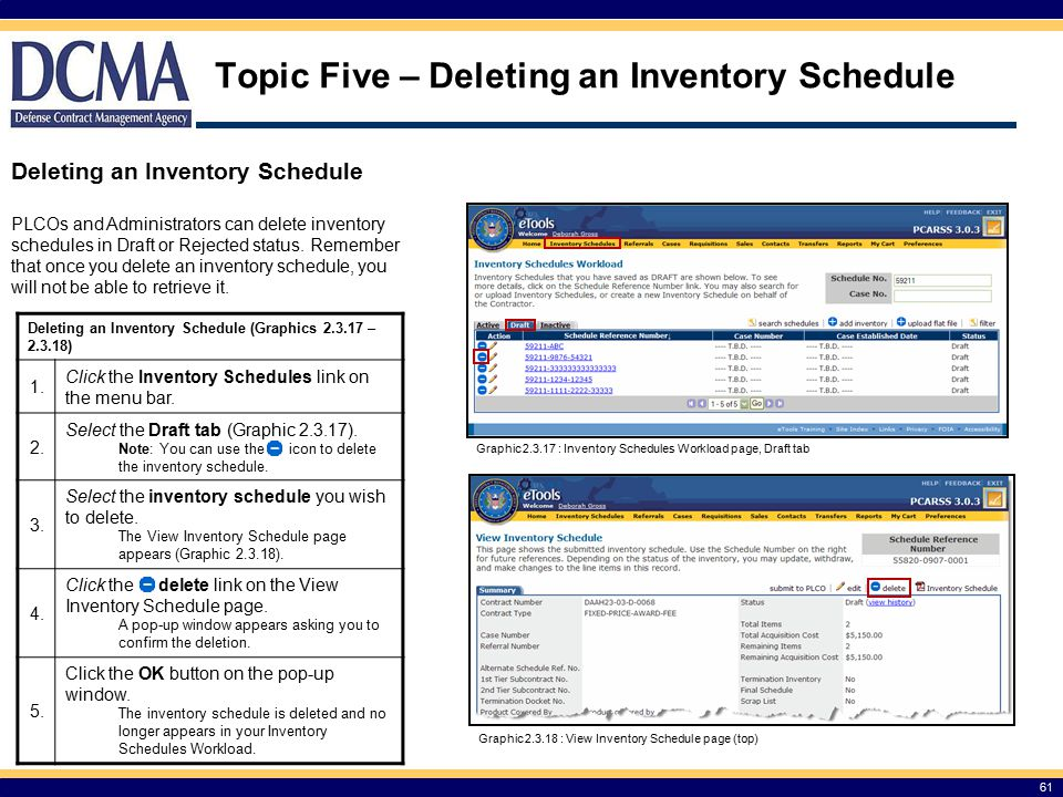 Topic Five – Deleting an Inventory Schedule