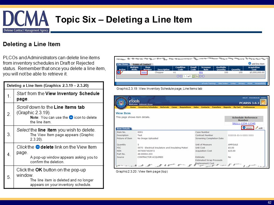 Topic Six – Deleting a Line Item
