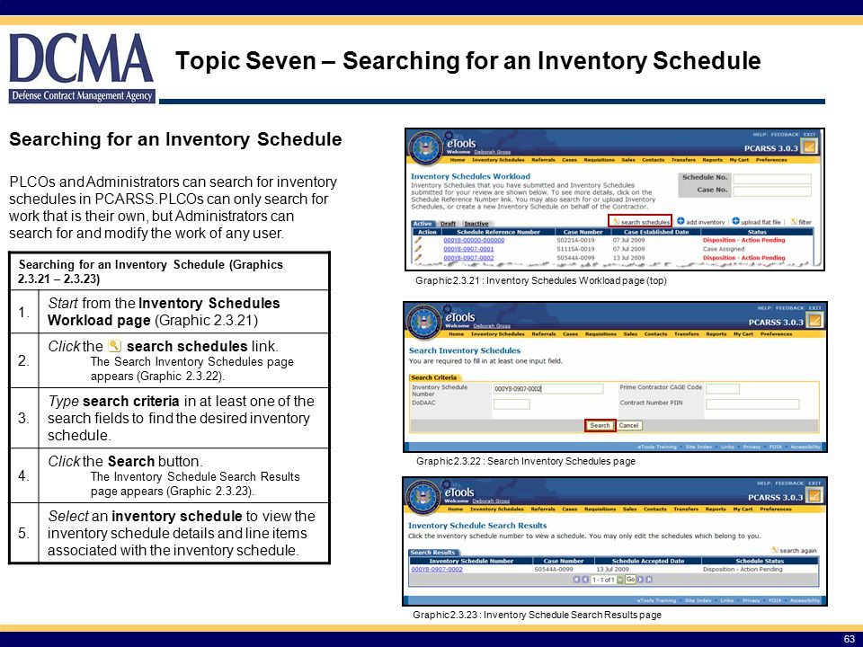 Topic Seven – Searching for an Inventory Schedule