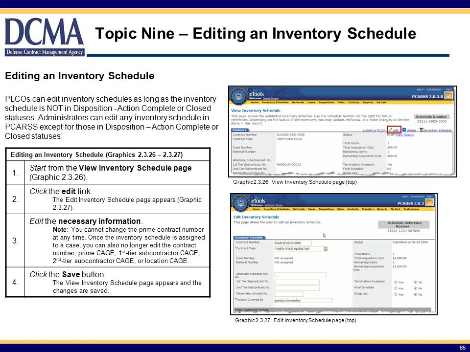 Topic Nine – Editing an Inventory Schedule