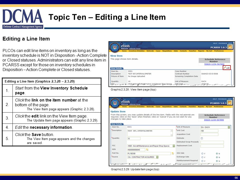 Topic Ten – Editing a Line Item