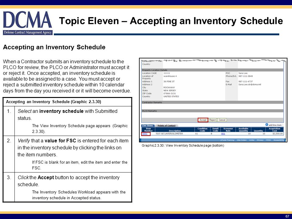 Topic Eleven – Accepting an Inventory Schedule