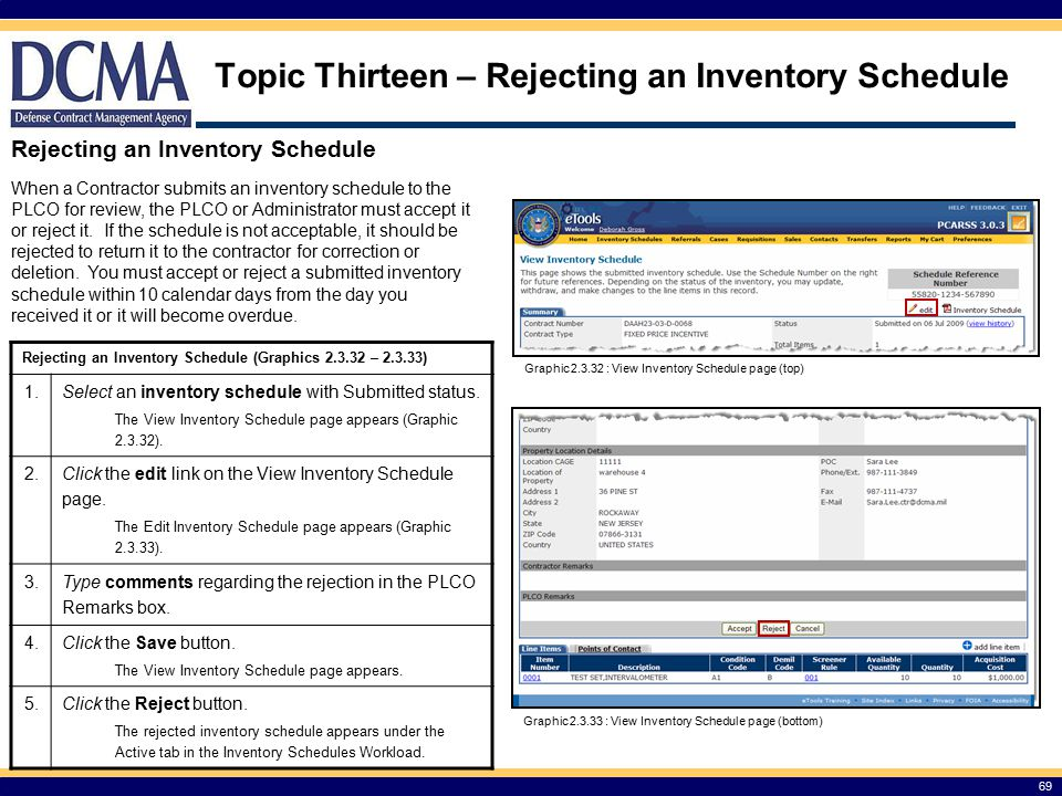 Topic Thirteen – Rejecting an Inventory Schedule