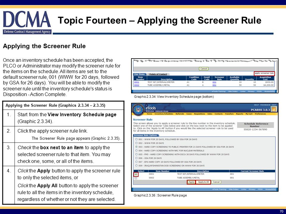 Topic Fourteen – Applying the Screener Rule