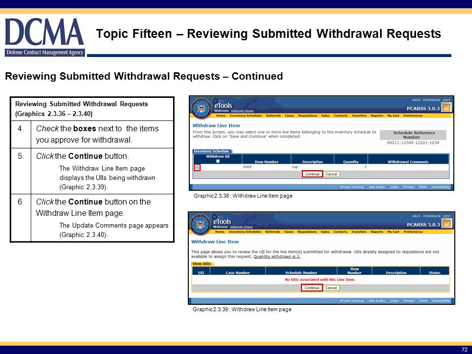 Topic Fifteen – Reviewing Submitted Withdrawal Requests