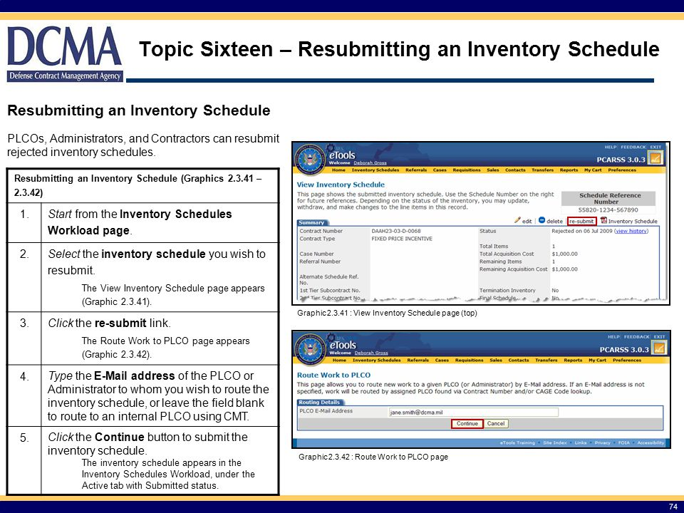 Topic Sixteen – Resubmitting an Inventory Schedule