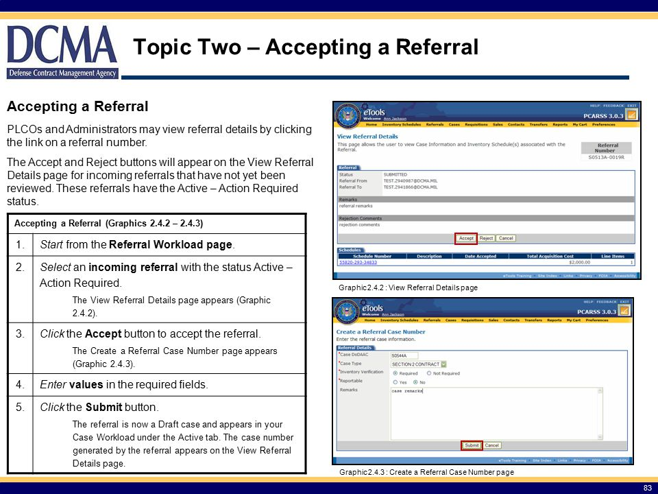 Topic Two – Accepting a Referral