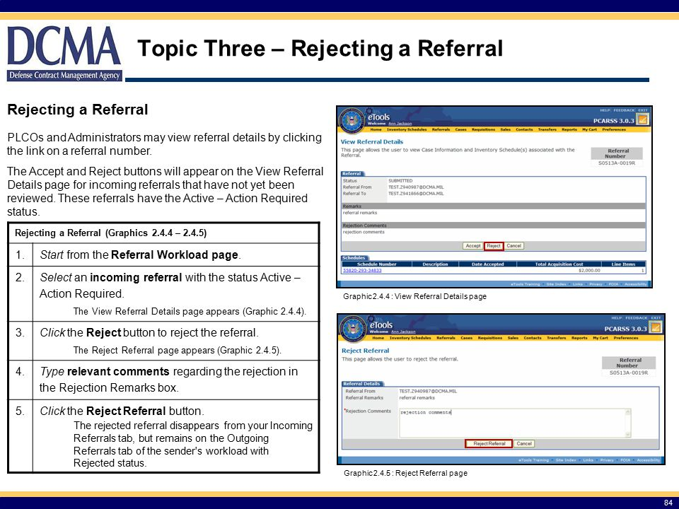 Topic Three – Rejecting a Referral