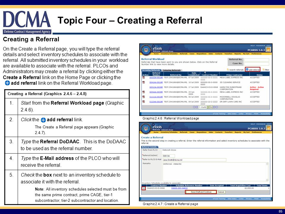 Topic Four – Creating a Referral