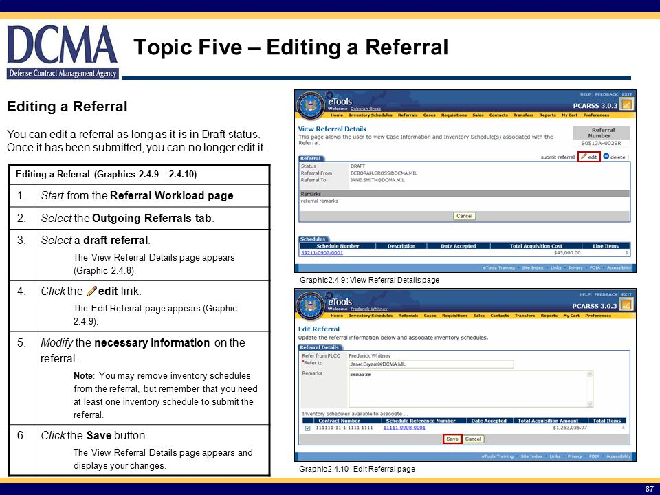 Topic Five – Editing a Referral