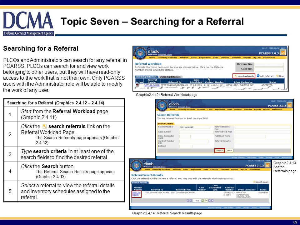 Topic Seven – Searching for a Referral