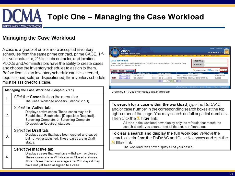 Topic One – Managing the Case Workload