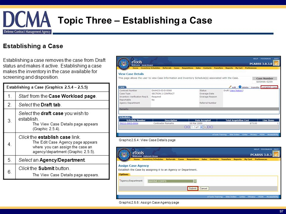 Topic Three – Establishing a Case
