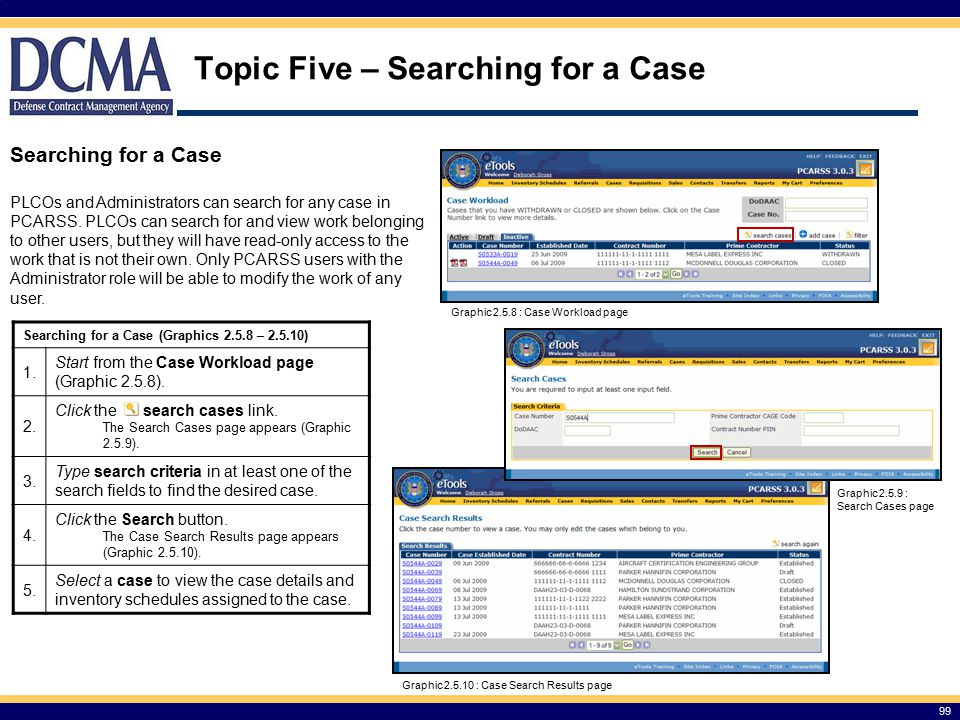 Topic Five – Searching for a Case