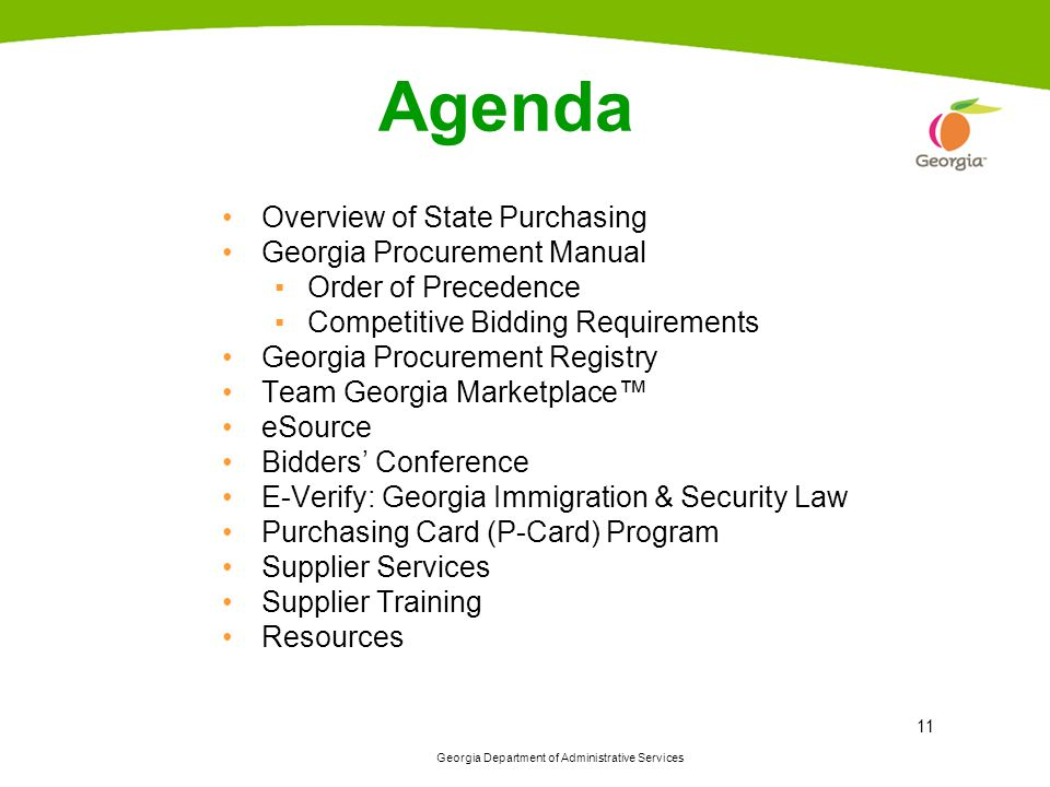 Agenda Overview of State Purchasing Georgia Procurement Manual
