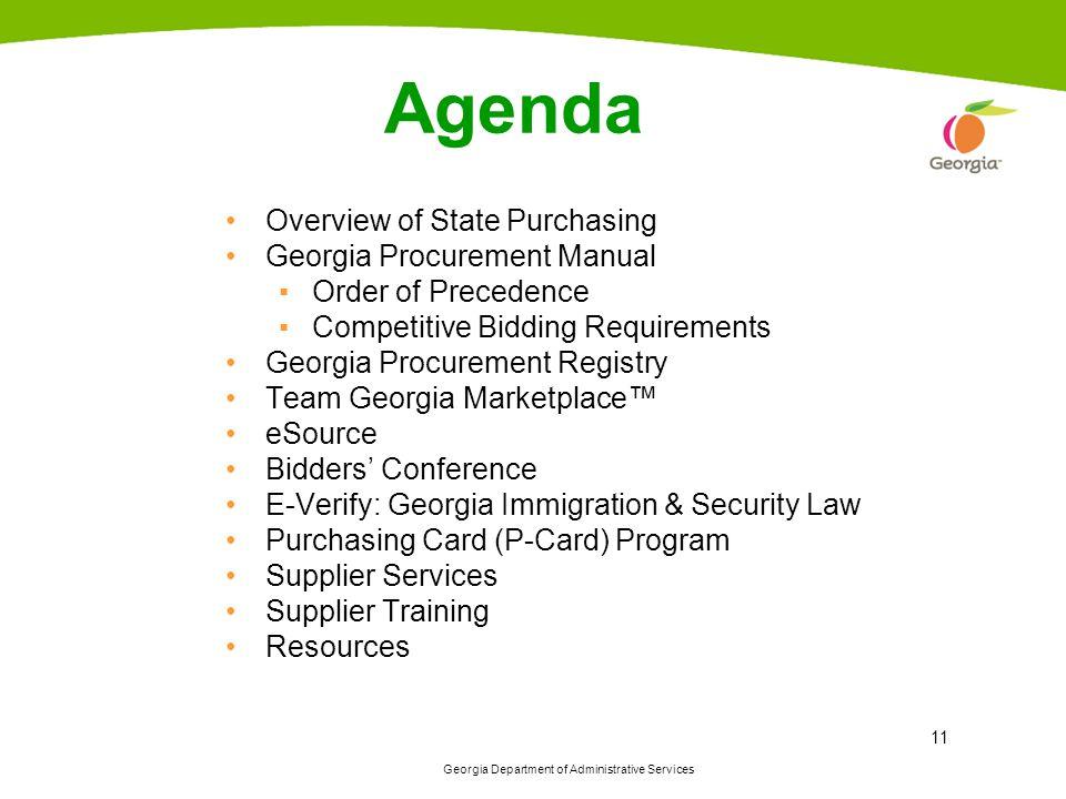 Agenda Overview of State Purchasing Georgia Procurement Manual