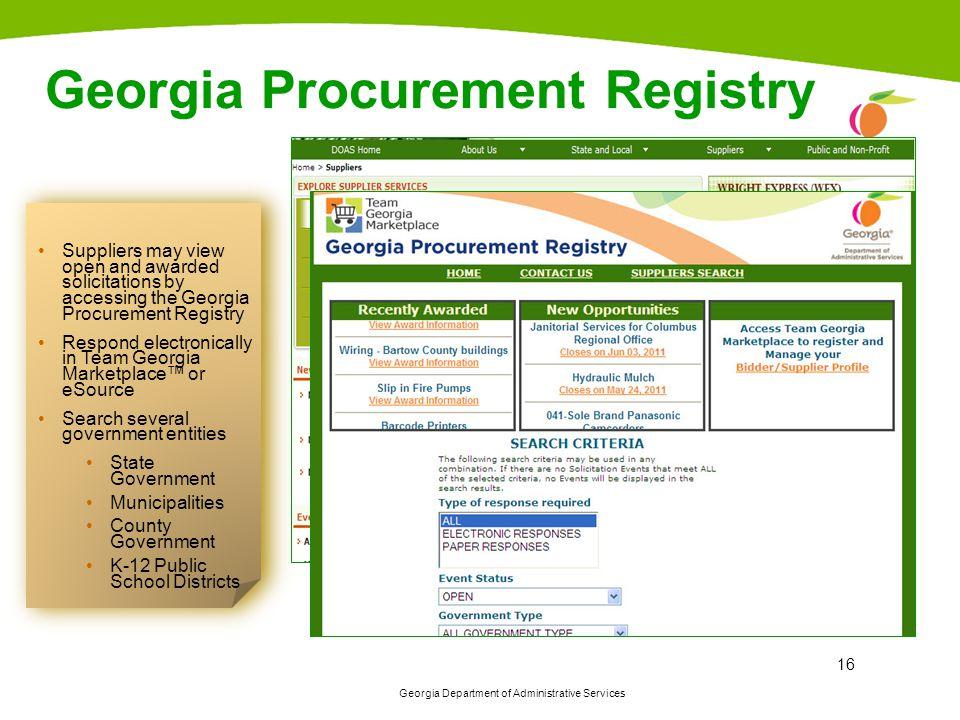 Georgia Procurement Registry