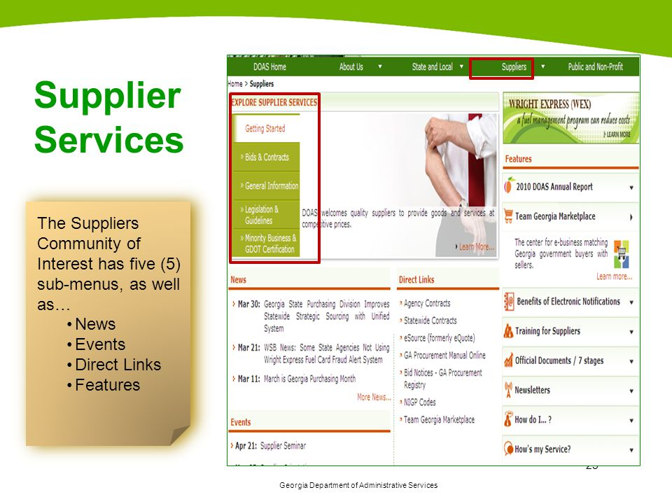 Supplier Services The Suppliers Community of Interest has five (5) sub-menus, as well as… News. Events.