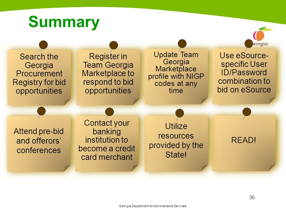 Summary Search the Georgia Procurement Registry for bid opportunities. Register in Team Georgia Marketplace to respond to bid opportunities.