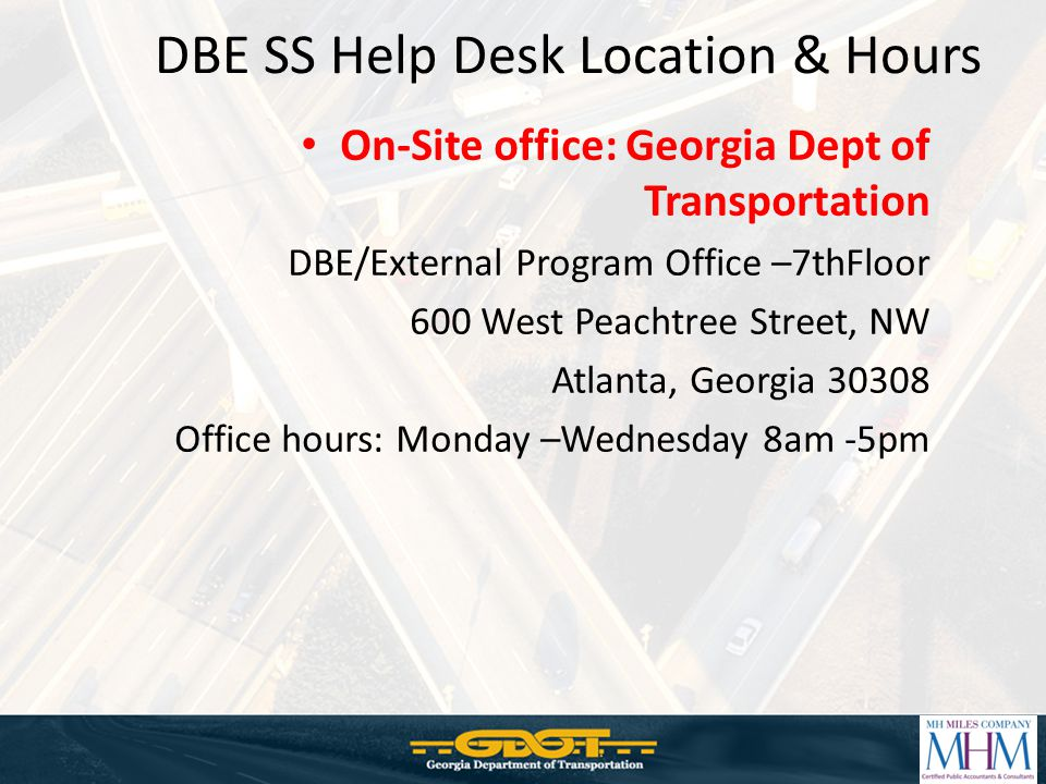 DBE SS Help Desk Location & Hours