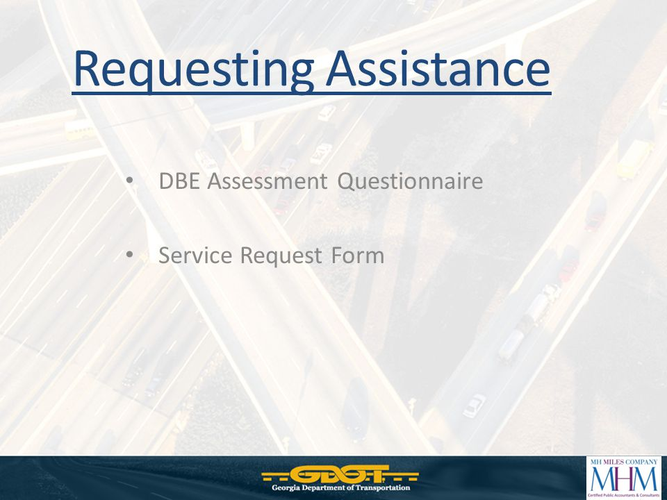 DBE Assessment Questionnaire Service Request Form