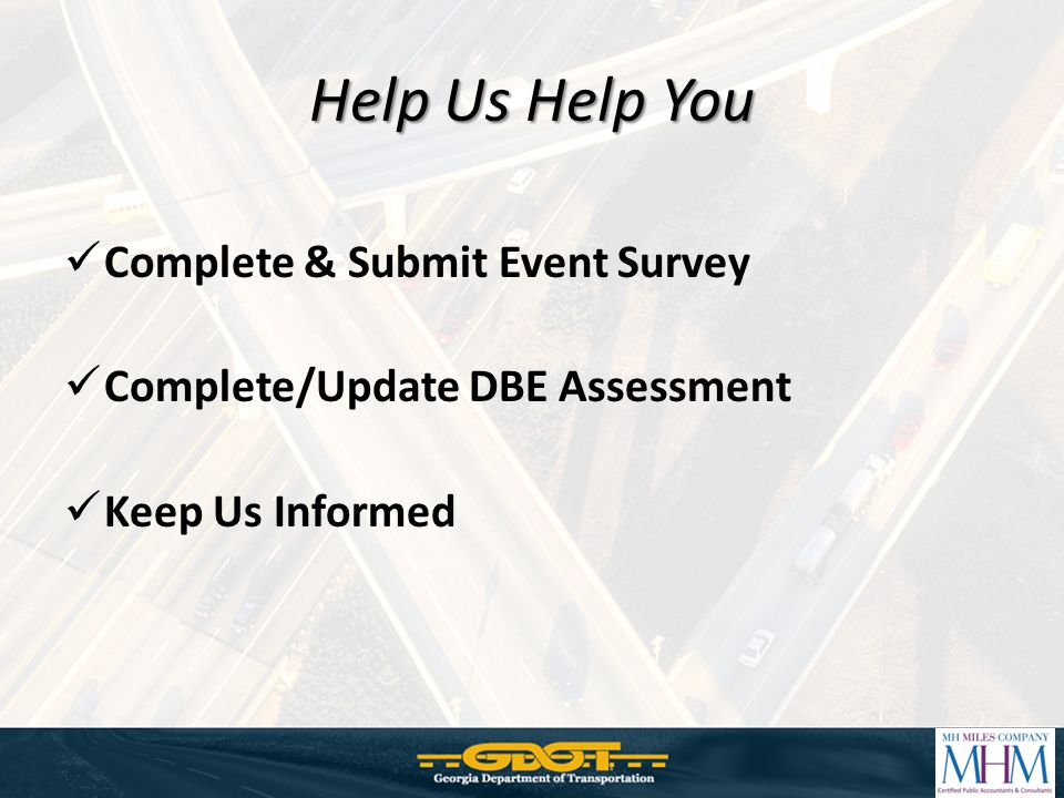 Help Us Help You Complete & Submit Event Survey