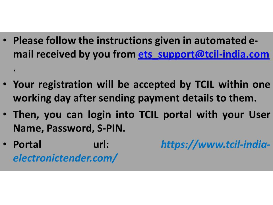 Please follow the instructions given in automated e-mail received by you from ets_support@tcil-india.com .