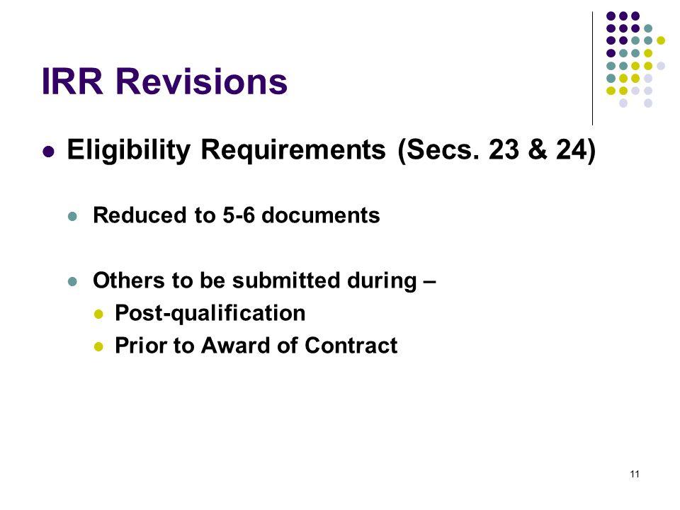 IRR Revisions Eligibility Requirements (Secs. 23 & 24)