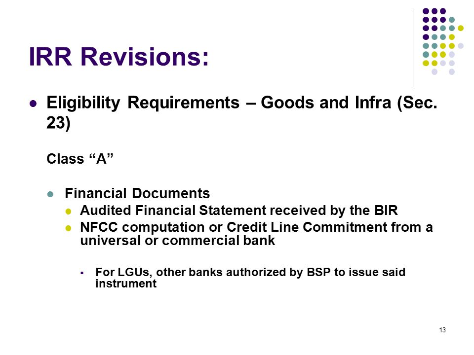 IRR Revisions: Eligibility Requirements – Goods and Infra (Sec. 23)