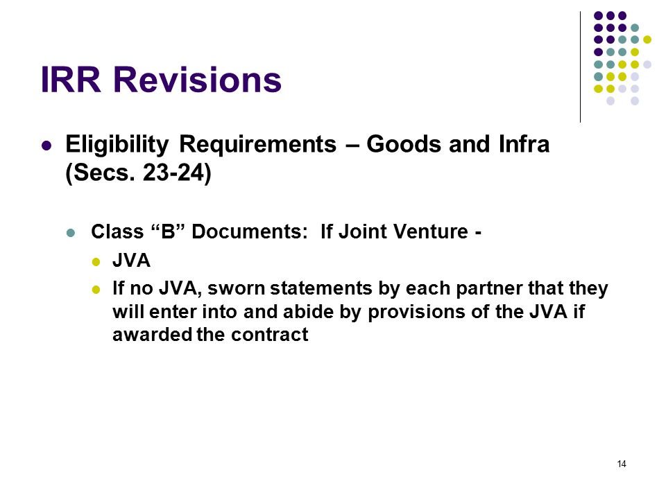 IRR Revisions Eligibility Requirements – Goods and Infra (Secs. 23-24)