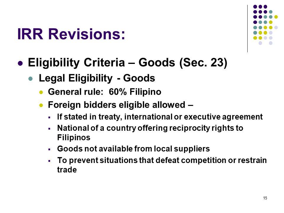 IRR Revisions: Eligibility Criteria – Goods (Sec. 23)