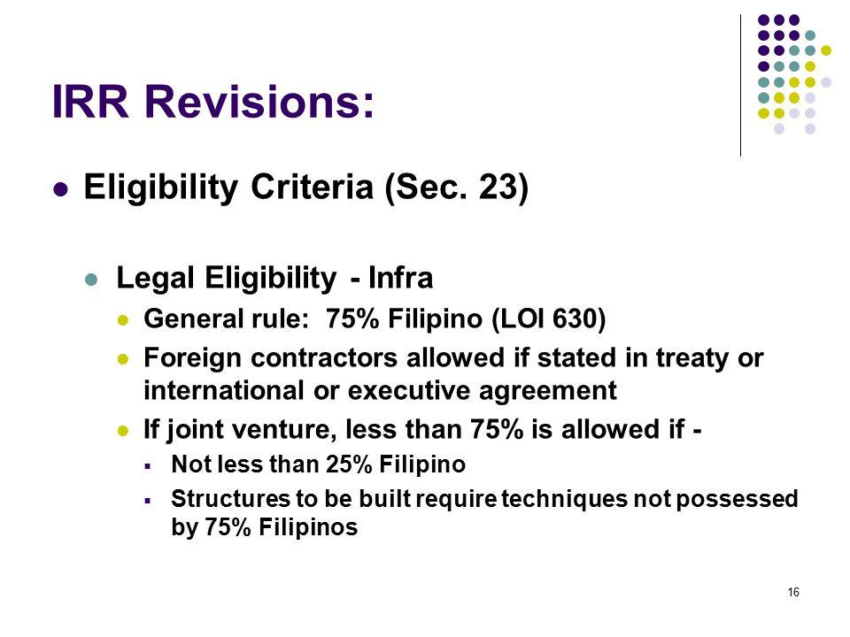 IRR Revisions: Eligibility Criteria (Sec. 23)