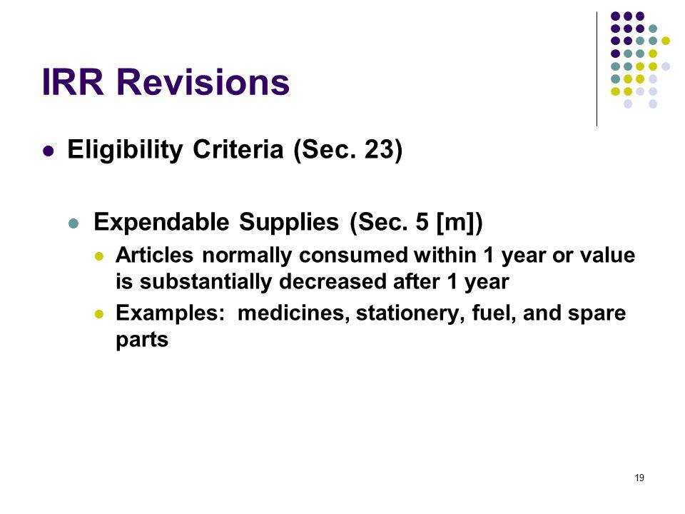 IRR Revisions Eligibility Criteria (Sec. 23)