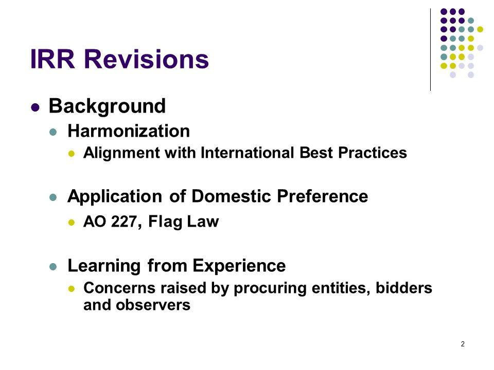 IRR Revisions Background Harmonization