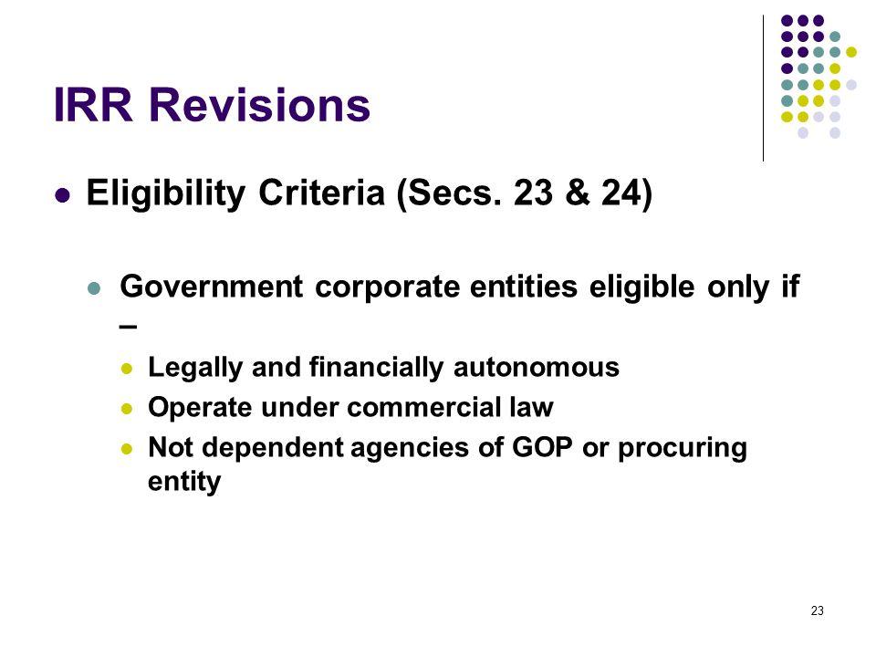 IRR Revisions Eligibility Criteria (Secs. 23 & 24)